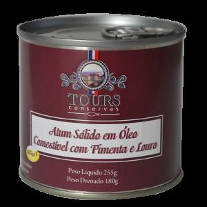 Atum sólido em óleo comestível com pimenta e louro