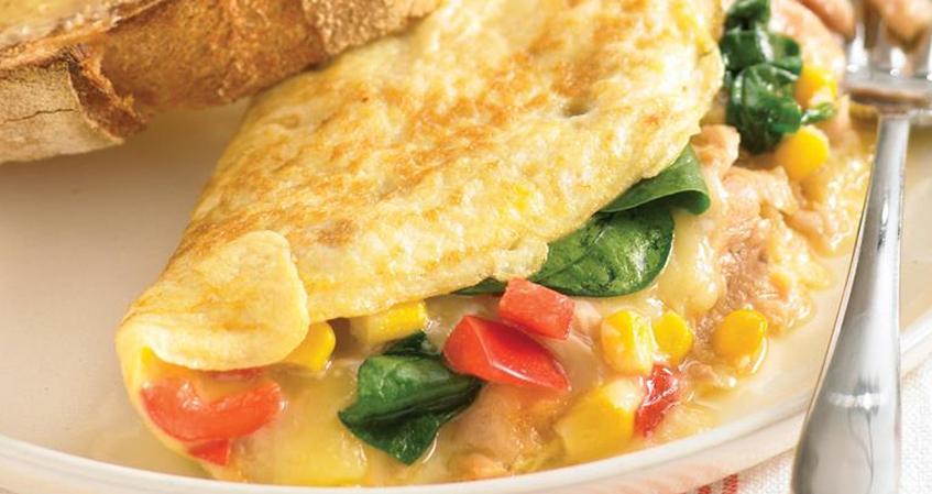 Omelete de Atum, Mozzarella e Espinafre